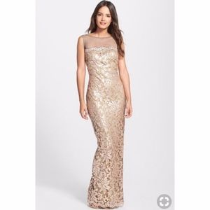 Tadashi Shoji Sequin Lace Embroidered Gown Size 4